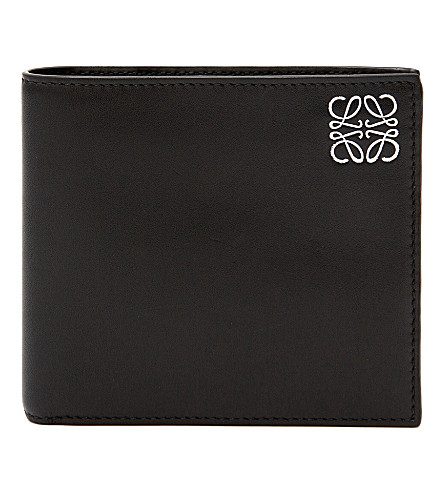 LOEWE Logo-embossed leather Bi-fold wallet (Black