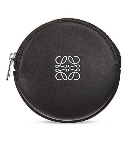 LOEWE Logo-embossed round coin purse (Black