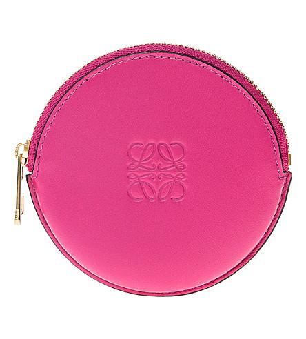LOEWE Logo-embossed round coin purse (Fuchsia
