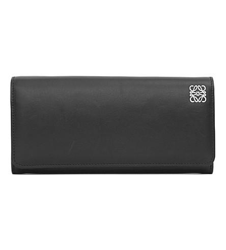 LOEWE Logo-embossed leather Continental wallet (Black