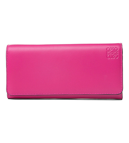 LOEWE Logo-embossed leather Continental wallet (Fuchsia