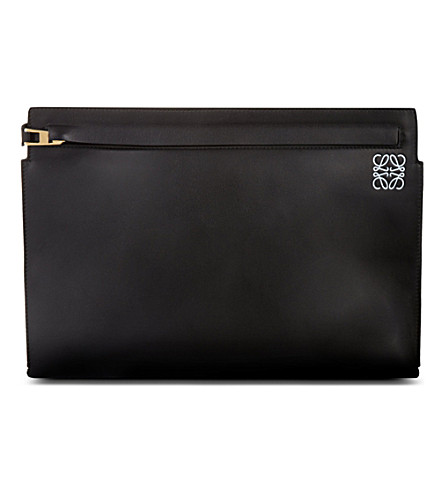 LOEWE Large leather pouch (Black