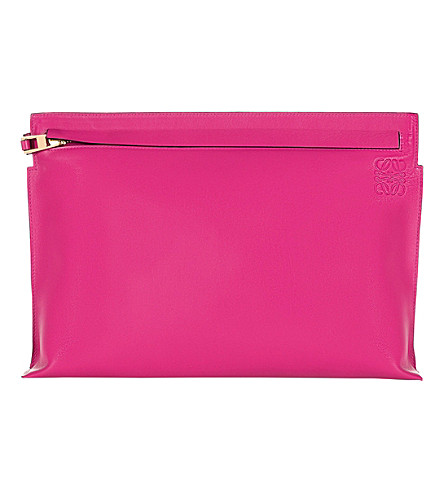 LOEWE Large leather pouch (Fuchsia