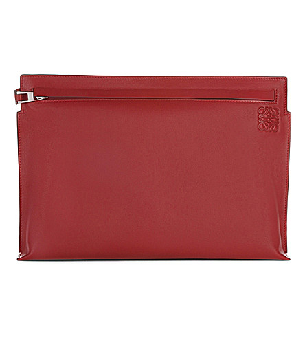 LOEWE Large leather pouch (Rouge