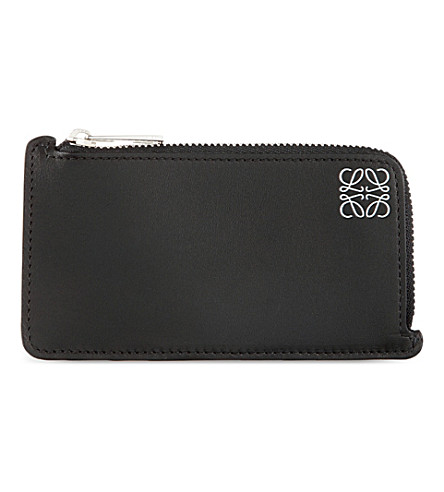 LOEWE Logo-embossed leather coin and card holder (Black