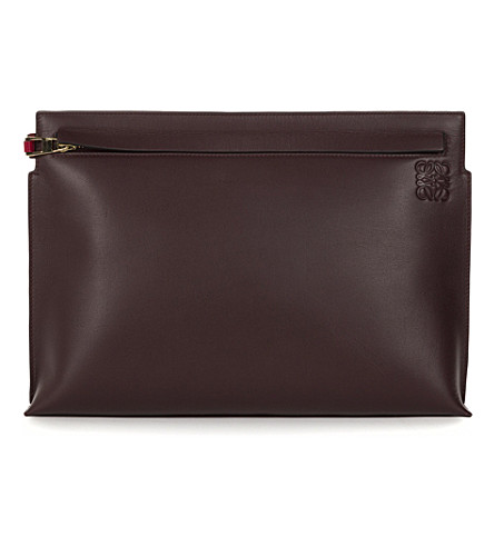 LOEWE Bi-colour large leather pouch (Oxblood/rouge