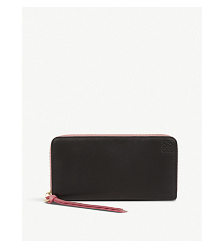 LOEWE Large zip around leather wallet (Black/candy