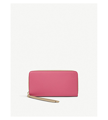 LOEWE Large zip around leather wallet (Fucshia/sand
