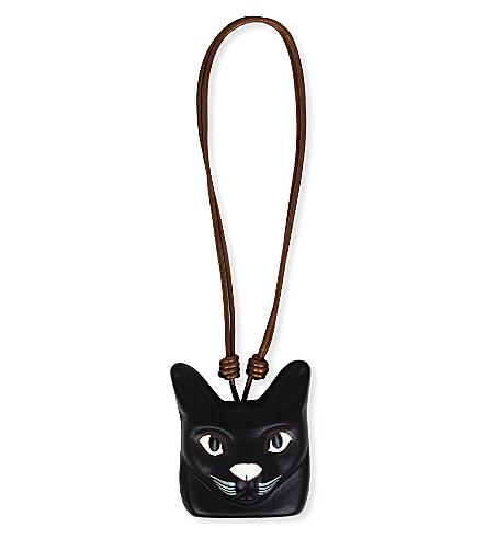 LOEWE Cat Face leather necklace (Black