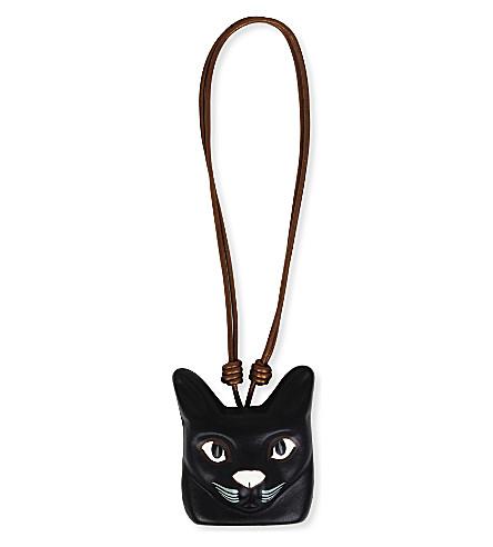LOEWE 猫脸皮革项链 (黑色