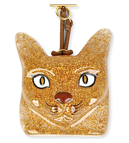 LOEWE Cat-face leather charm (Gold