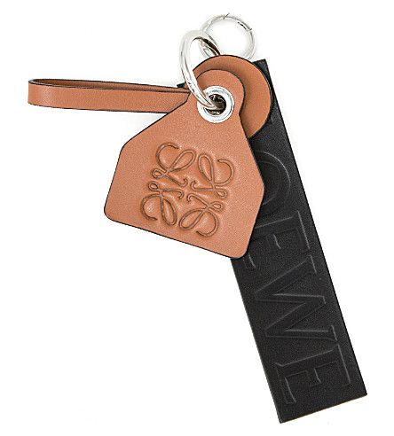 LOEWE Logo-embossed leather keyring (Black/tan