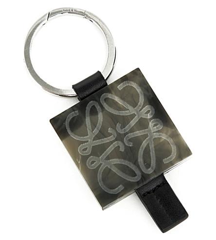 LOEWE Anagram plaque keyring (Smoke+grey