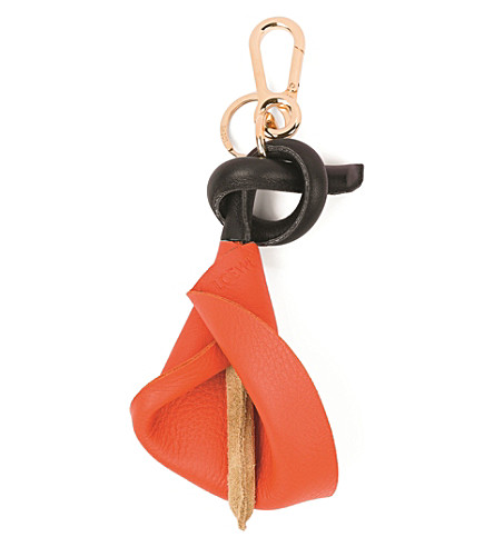 LOEWE Calla leather charm (Orange/gold/black