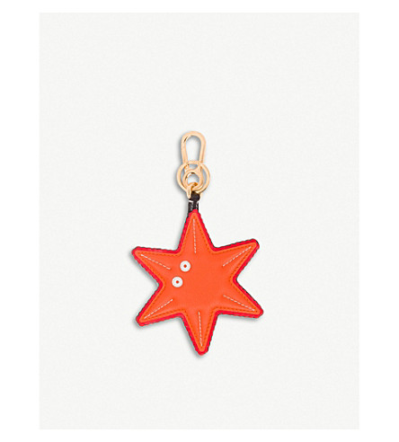 LOEWE Starfish leather charm (Orange/black