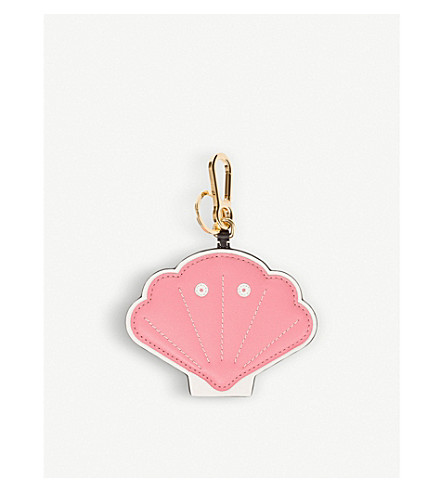 LOEWE Shell leather charm keyring (Candy/white