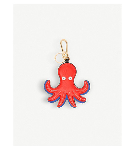 LOEWE Octopus leather charm (Red/blue