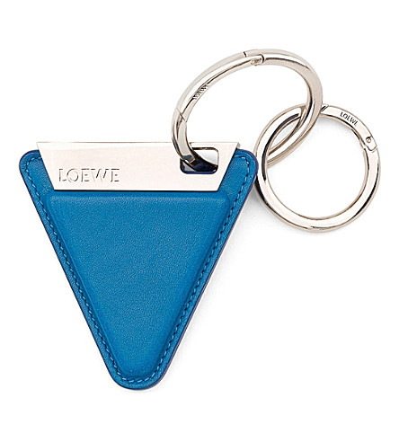 LOEWE Triangular leather keyring (Blue/palladium
