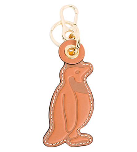 LOEWE Penguin leather charm (Tan/black