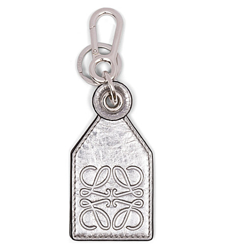 LOEWE Metallic-leather tag-style bag charm (Silver