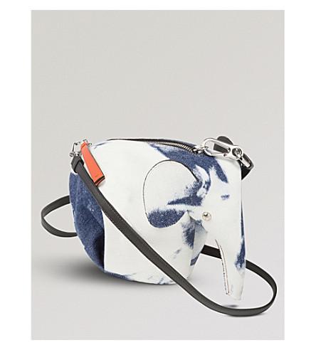 LOEWE Elephant Bleached minibag denim shoulder bag (Blue+denim/wte/blk