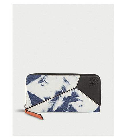 LOEWE Puzzle Bleached zip-around denim wallet (Blue+denim/wte/blk