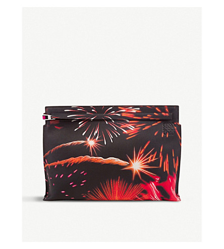 LOEWE Fireworks leather pouch (Multicolour