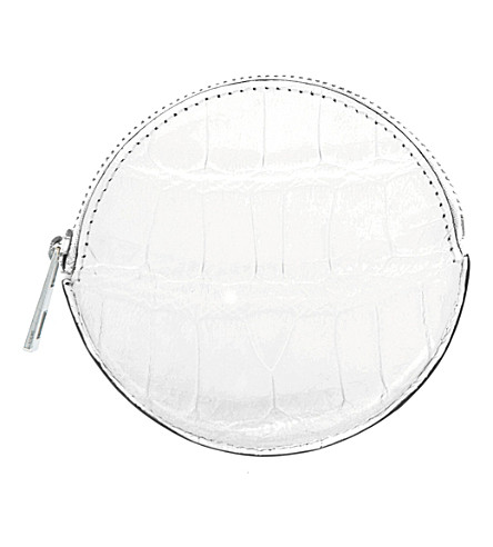 LOEWE Round crocodile-leather coin purse (Soft+white