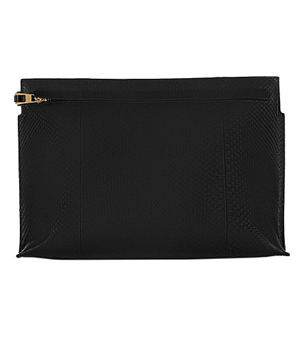 LOEWE Large python-leather T pouch (Black