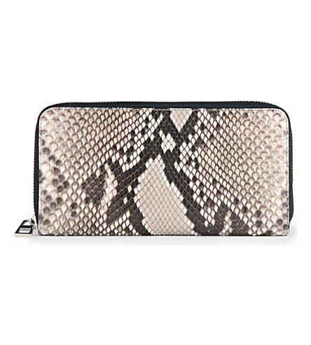 LOEWE Zip-around python wallet (Natural