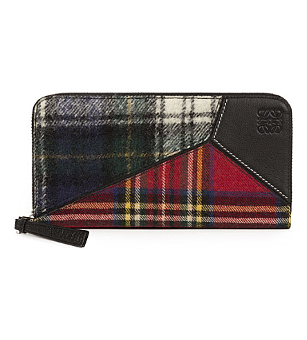 LOEWE Puzzle zip around tartan and leather wallet (Black/multicolor