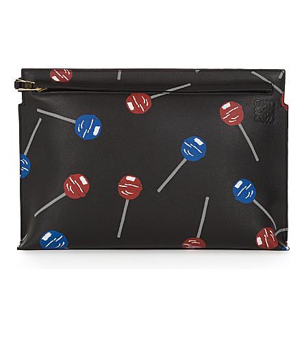 LOEWE Lollipops leather T pouch (Black
