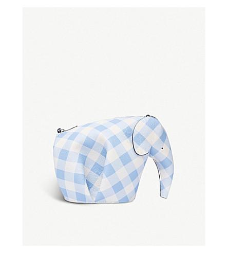 LOEWE Elephant gingham leather mini bag (Soft+blue