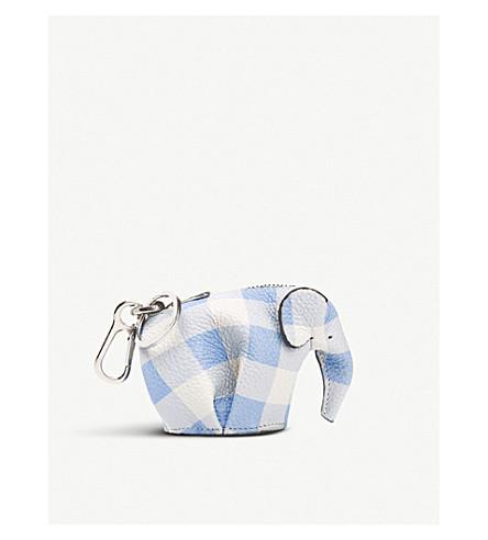 LOEWE Elephant gingham leather charm (Soft+blue