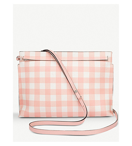 LOEWE T Gingham leather pouch (Salmon/+green