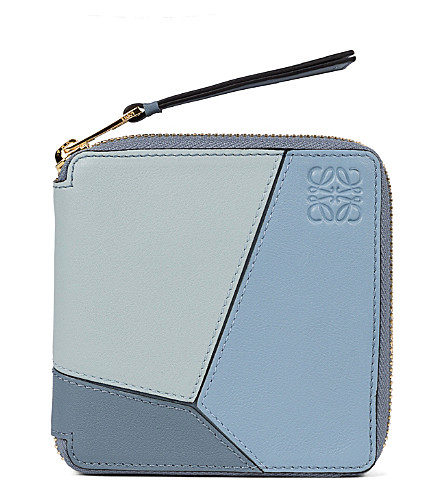 LOEWE Puzzle small leather wallet (Aqua/light+blue