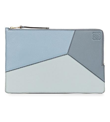 LOEWE Puzzle flat leather pouch (Aqua/light+blue