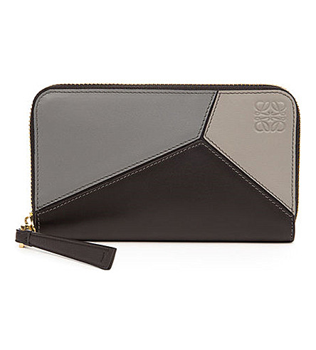 LOEWE Puzzle zip-around leather wallet (Grey+multitone