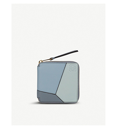 LOEWE Puzzle small leather wallet (Aqua/+blue