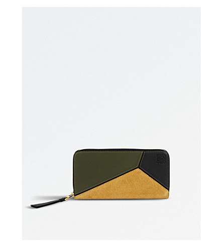 LOEWE Puzzle zip-around leather wallet (Military+grn/blk/gld
