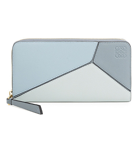 LOEWE Puzzle zip-around leather wallet (Aqua/light+blue