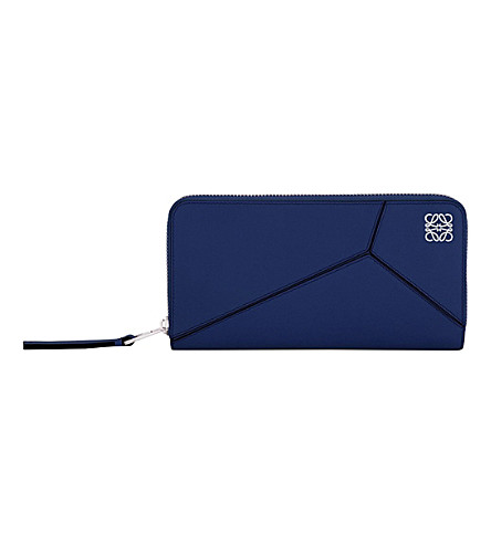 LOEWE Puzzle zip-around leather wallet (Navy+blue