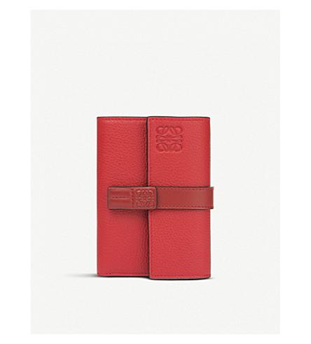 LOEWE Small vertical grained-leather wallet (Scarlet+red/brick+re
