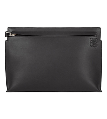 LOEWE Large leather T pouch (Black