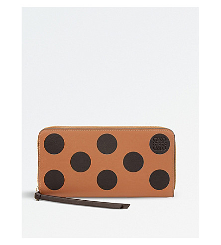 LOEWE Circles zip around leather wallet (Black/tan/brown