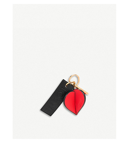 LOEWE Heart leather charm (Red/black