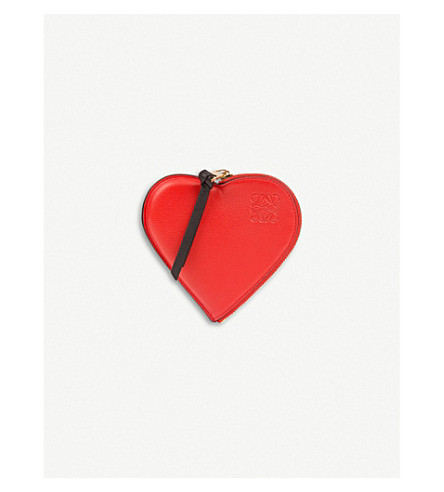 LOEWE Cookie Heart leather coin purse (Red/black