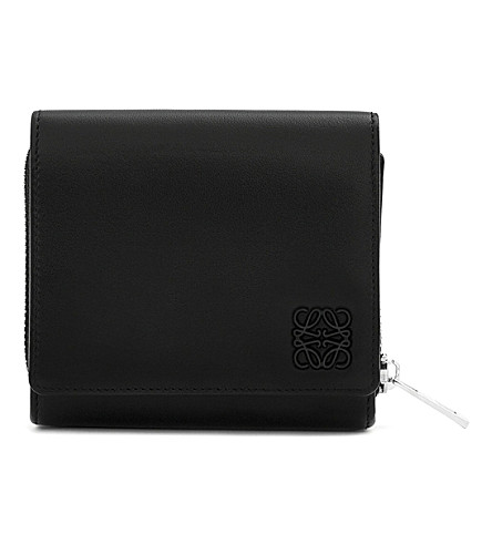LOEWE Small leather wallet (Black/navy+blue
