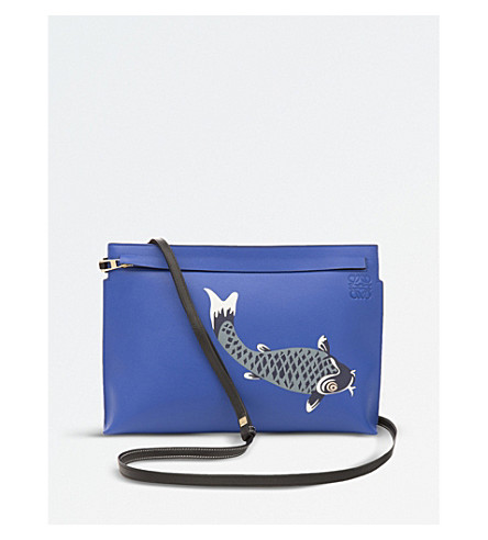 LOEWE Pesce leather T pouch (Electric+blue/blue