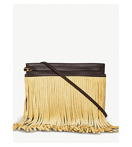 LOEWE Fringes leather T Pouch (Gold